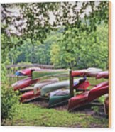 Colorful Canoes At Hungry Mother State Park Wood Print