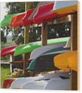 Colorful Canoes Wood Print