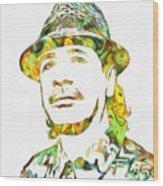Colorful Carlos Santana Wood Print