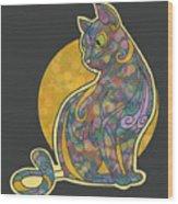 Colorful Cat Art Wood Print