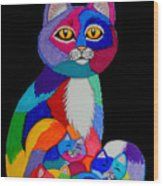 Colorful Cats And Kittens Wood Print