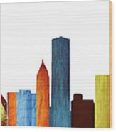 Colorful Chicago Skyline Wood Print