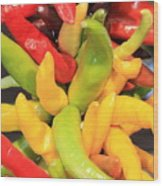 Colorful Chili Peppers  Wood Print