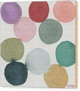 Colorful Circles Abstract Watercolor Wood Print