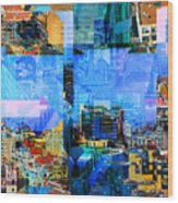Colorful City Collage Wood Print