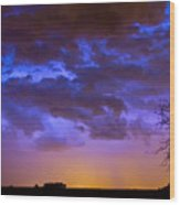 Colorful Cloud To Cloud Lightning Wood Print