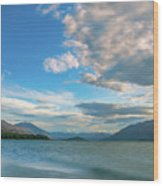Colorful Clouds At Golden Hour On Lake Wakatipu At Glenorchy, Nz  Wood Print
