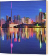 Colorful Cn Tower  Wood Print