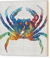 Colorful Crab Art By Sharon Cummings Wood Print