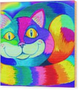 Colorful Crazy Cat Wood Print