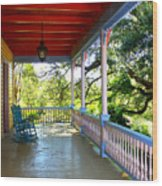 Colorful Creole Porch Wood Print by Carol Groenen