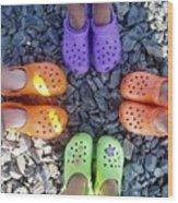Colorful Crocs Wood Print