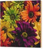 Colorful Daisies Wood Print