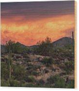 Colorful Desert Skies At Sunset  Wood Print