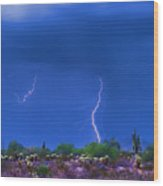 Colorful Desert Storm Wood Print