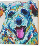 Colorful Dog Art - Smile - By Sharon Cummings Wood Print