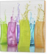 Colorful Drink Splashing From Glasses Wood Print