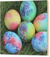 Colorful Easter Eggs On Green Grass Wood Print