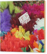 Colorful Easter Feathers Wood Print