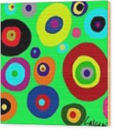 Colorful Eyes In The Green Sky Wood Print