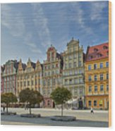 colorful facades on Market Square or Ryneck of Wroclaw Wood Print