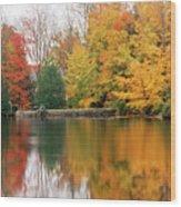 Colorful Fall Foliage Ossipee Lake New Hampshire Wood Print