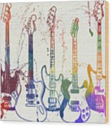 Colorful Fender Guitars Paint Splatter Wood Print
