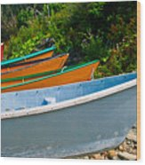 Colorful Fishing Boats On A Rocky Shore  Grand Manan Wood Print