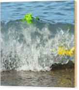 Colorful Flowers Crashing Inside A Wave Against The Shoreline Wood Print