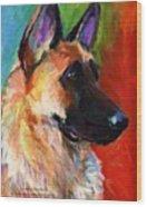 Colorful German Shepherd Painting By Wood Print