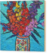 Colorful Gladiolus Wood Print