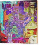 Colorful Glass Bottles Abstract Wood Print