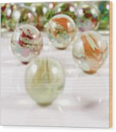 Colorful Glass Marbles Close-up Views Wood Print