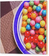 Colorful Gumballs On Plate Wood Print