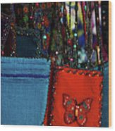 Colorful Hanging Pouches Wood Print