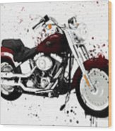Colorful Harley Davidson Paint Splatter Wood Print