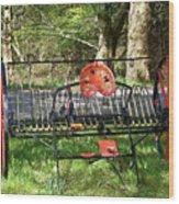 Colorful Hay Rake Wood Print
