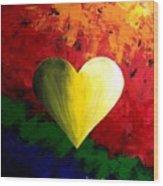Colorful Heart Valentine Valentine's Day Wood Print