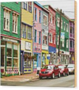 Colorful Houses In St Johns In Newfoundland Wood Print