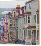Colorful Houses In St. Johns, Nl Wood Print