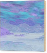 Colorful Icebergs - 3d Render Wood Print