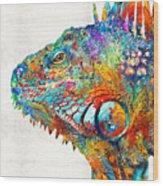 Colorful Iguana Art - One Cool Dude - Sharon Cummings Wood Print
