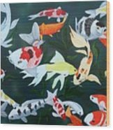 Colorful Koi Wood Print