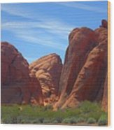 Colorful Landscape Rock Mountains Of Overton Nevada  Wood Print