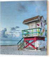 Colorful Lifeguard Tower Wood Print