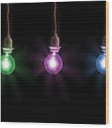 Colorful Light Bulbs Wood Print
