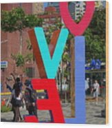 Colorful Love Sign In Kaohsiung Wood Print
