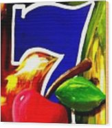 Colorful Lucky Seven Slot Machine Casino Decor With Cherry Wood Print