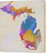 Colorful Michigan Wood Print