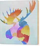 Colorful Moose Head Wood Print